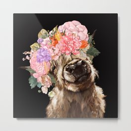 Highland Cow With Flower Crown Black Metal Print