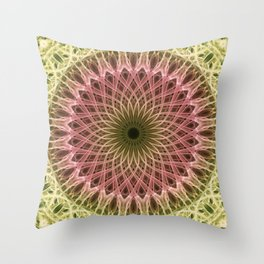 Detailed mandala in gold and red ones Throw Pillow