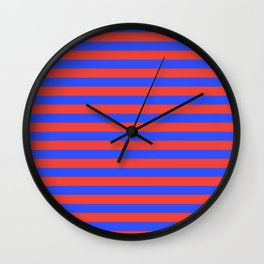 Even Horizontal Stripes, Blue and Red, M Wall Clock