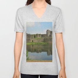 United Kingdom Wales, Cardiff, Castle Caerphilly Castles Pond Ruins Cities castle Unisex V-Neck