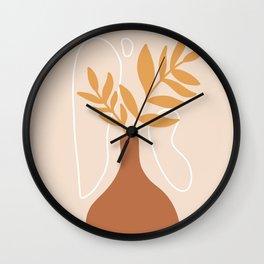 Flower Clay Vase Orange Wall Clock