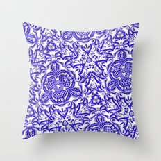 Blue antik lace Throw Pillow