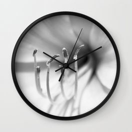 Black and White Macro Lily Wall Clock