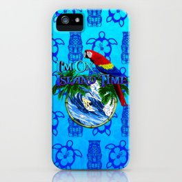 Blue Tikis Island Time And Parrot iPhone Case
