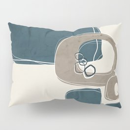 Retro Abstract Design in Taupe and Aqua Pillow Sham