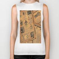 newspaper Biker Tanks featuring old newspaper by Marianna Burk