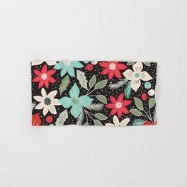 Folk Christmas Poinsettias Hand & Bath Towel