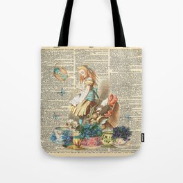 Vintage Alice In Wonderland on a Dictionary Page Tote Bag