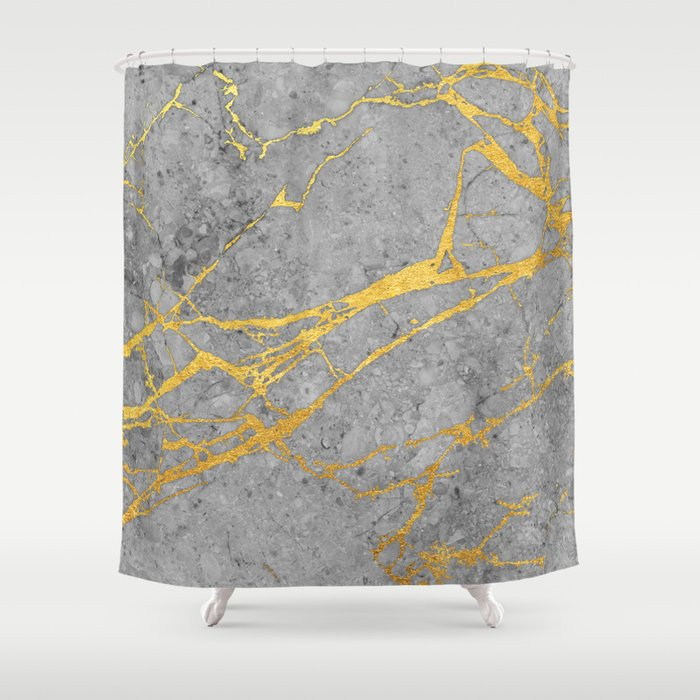 Grey Marble And Gold Shower Curtain
