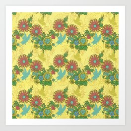 Garden Charm 8:  butterflies and blooms in fresh boho colors Art Print