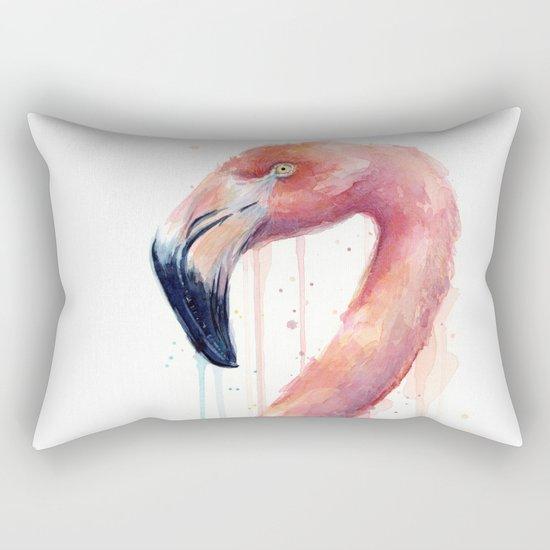 Flamingo Art Watercolor Rectangular Pillow