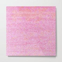 Pink Simple Flat weave Rug Texture Pattern Metal Print