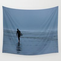 surfer Wall Tapestries featuring Lone surfer by Jessie Rose