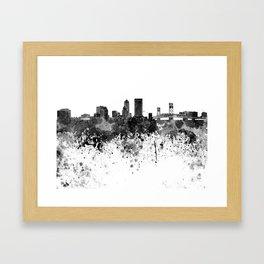 Jacksonville skyline in black watercolor Framed Art Print