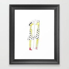 Gloria the Giraffe in a polka dot dress Framed Art Print