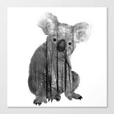 Misty Forest Koala Bear - black and white Canvas Print