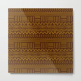 Mud Cloth on Brown Metal Print