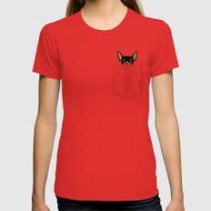 Pocket Chihuahua - Black Womens Fitted Tee Red MEDIUM