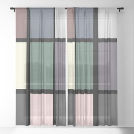 60s and 80s Inspired Retro Vintage Geometric Square Sheer Curtain