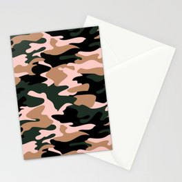 Pink Accented Woodland Camo Stationery Cards