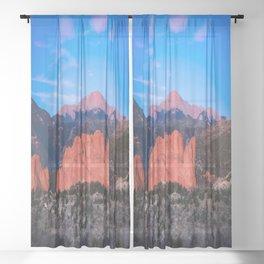 Pikes Peak - Sunrise Over Garden of the Gods in Colorado Springs Sheer Curtain