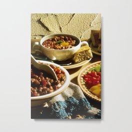 Chili with Cornbread  Metal Print