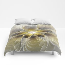 Gold And Silver, Abstract Flower Fractal Comforters