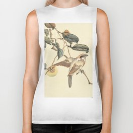 Vintage brown ivory bird floral tree branch Biker Tank