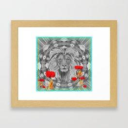 Lion Geometric Floral Contrast Print Framed Art Print