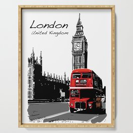 Big Ben London Red Double Decker Bus Serving Tray