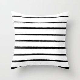 Black and White Rough Organic Stripes Throw Pillow