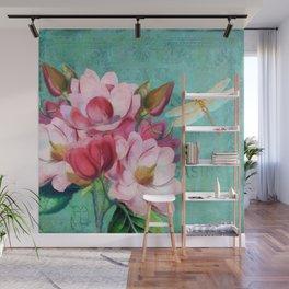 Verdigris Pink Magnolias Wall Mural