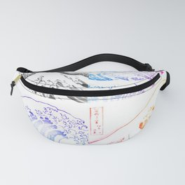 The Great Wave Sketch Color Block Collage Fanny Pack