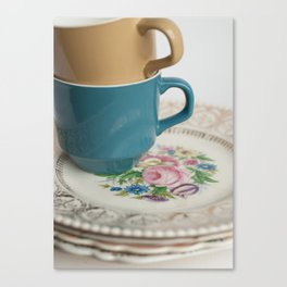 Vintage Tea Cups and Plate Stack Canvas Print