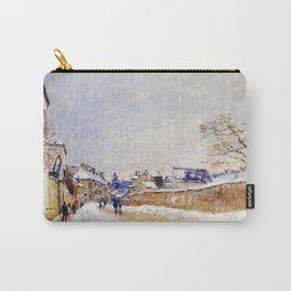 11,000px,500dpi-Alfred Sisley - Eugene Moussoir Street at Moret, Winter - Digital Remastered Edition Carry-All Pouch