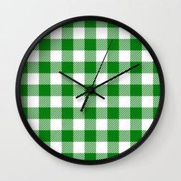 Buffalo Plaid - Green & White Wall Clock