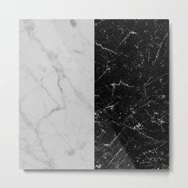 half black and white marble Metal Print
