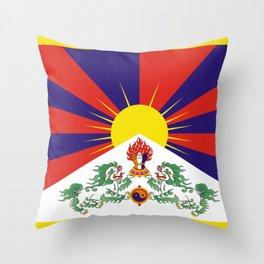 Tibet Flag Tibetan Free Tibet Himalaya Buddhism Throw Pillow