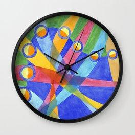 Mingling Colored Stripes Wall Clock