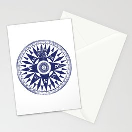 Nautical Compass | Vintage Compass | Navy Blue and White | Stationery Cards