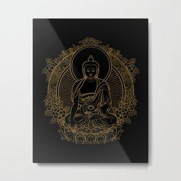 Buddha on Black Metal Print