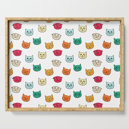 Cat heads in colors Serving Tray