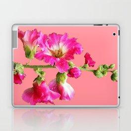Pink Coral Hollyhock Flowers Blooming Design Laptop & iPad Skin