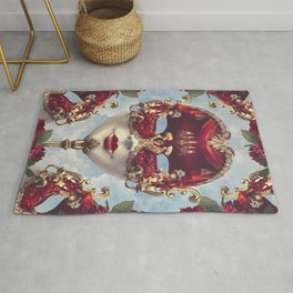 Floral Decadence - Red & Gold Venetian Mask Rug