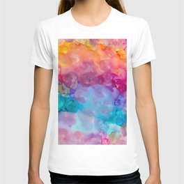 rainbow clouds alcohol inks T-shirt