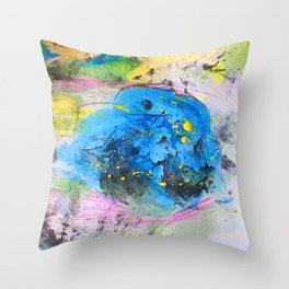 Rustic artistic abstract blue yellow pink watercolor brushstrokes Throw Pillow