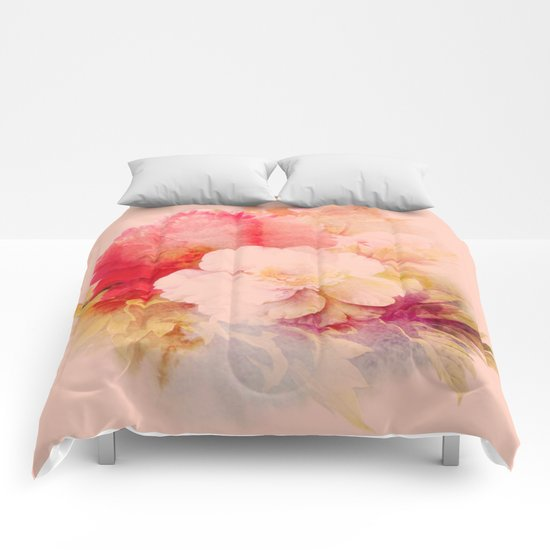 flowers on salmon background Comforters