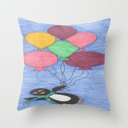 When Penguins Fly Throw Pillow