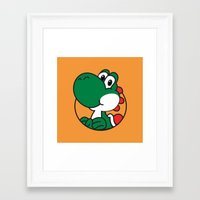 yoshi Framed Art Prints featuring Yoshi by pondlifeforme
