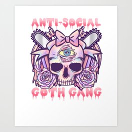 Anti Social Goth Gang I Anime Manga Kawaii print Art Print
